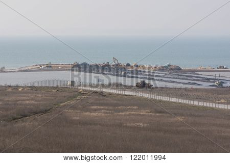 View Of The Tuzla Spit And The Construction Of A Bridge Across The Kerch Strait, From Taman, As Of M