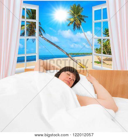 Brunette Woman In Bed