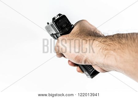 focus on back aim gun sight of black color gun holding in hand isolated on white background poster