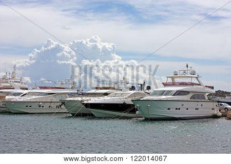 CROATIA TRIBUNJ 8 APRIL 2012: Yahts moored in the marina Tribunj a small place on Mediterranean coast Tribunj Croatia