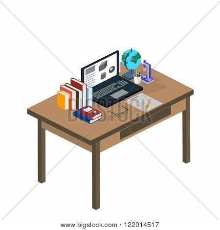 Online education. Students are taught online. Flat modern illustration of learning process. Isometric