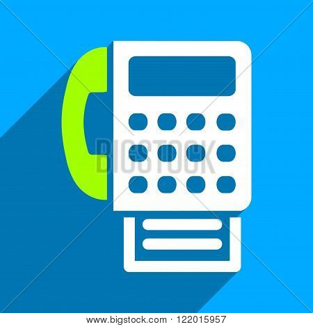 Fax long shadow vector icon. Style is a flat fax iconic symbol on a blue square background.