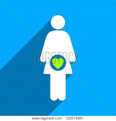 Fertility long shadow vector icon. Style is a flat fertility iconic symbol on a blue square background.