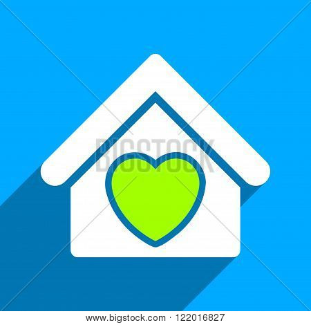 Hospice long shadow vector icon. Style is a flat hospice iconic symbol on a blue square background.