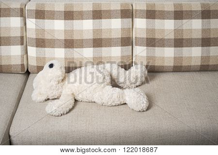 Teddy bear is laying on the sofa