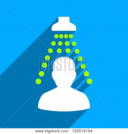 Patient Disinfection long shadow vector icon. Style is a flat patient disinfection iconic symbol on a blue square background.