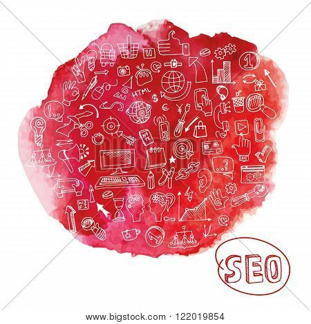 Doodle hand drawing  sketchy seo  icons composition in watercolor red stein background.Business concept . Vector illustration
