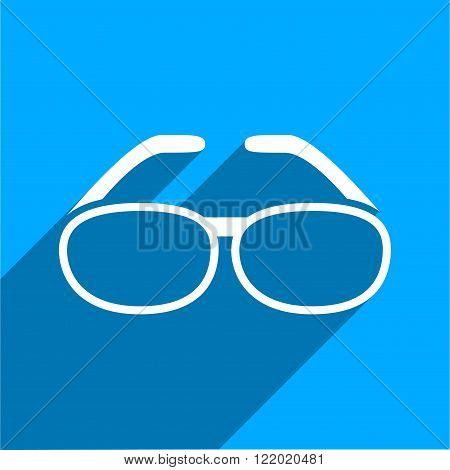 Spectacles long shadow vector icon. Style is a flat spectacles iconic symbol on a blue square background.