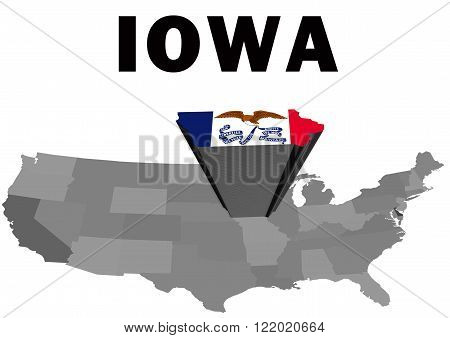 Outline map of the United States with the state of Iowa raised and highlighted with the state flag