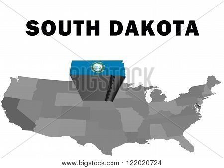 Outline map of the United States with the state of South Dakota raised and highlighted with the state flag