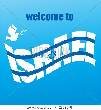 abstract Israeli flag and peace white dove