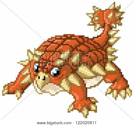 Cartoon clip art illustration of A cute pixel art ankylosaurus stands in a battle-ready pose. Created in the 8-bit/16-bit art style of video games from the 80's and 90's! The pixel blocks are individually editable vector shapes.