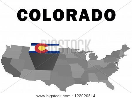Outline map of the United States with the state of Colorado raised and highlighted with the state flag