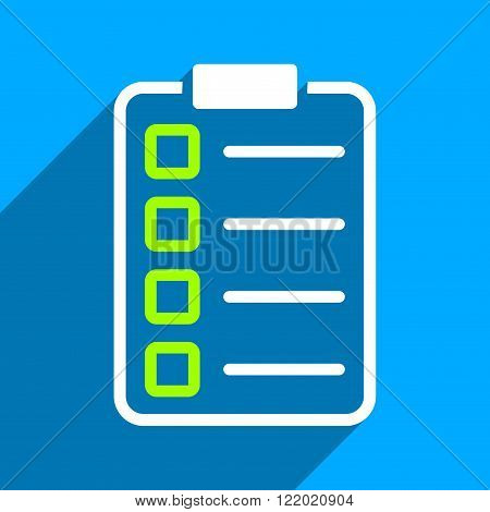 Test Form long shadow vector icon. Style is a flat test form iconic symbol on a blue square background.