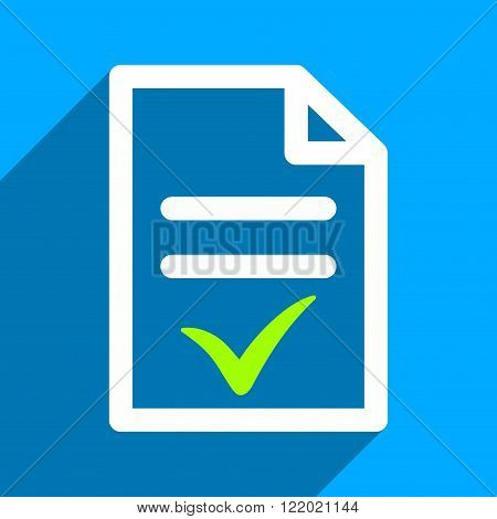 Valid Document long shadow vector icon. Style is a flat valid document iconic symbol on a blue square background.