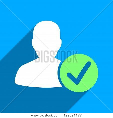 Valid User long shadow vector icon. Style is a flat valid user iconic symbol on a blue square background.