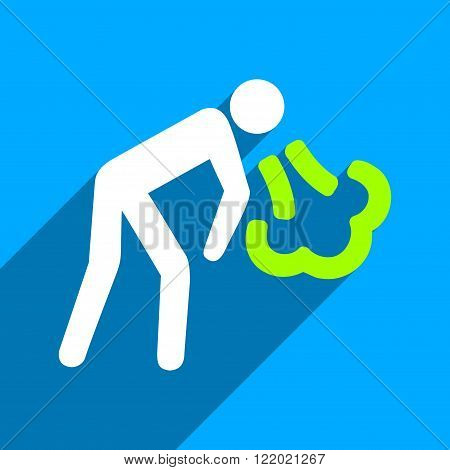 Vomiting Person long shadow vector icon. Style is a flat vomiting person iconic symbol on a blue square background.