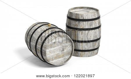 Two grey wooden barrels on white background.