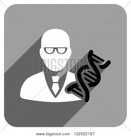 Genetic Engineer long shadow vector icon. Style is a flat genetic engineer iconic symbol on a gray square background.