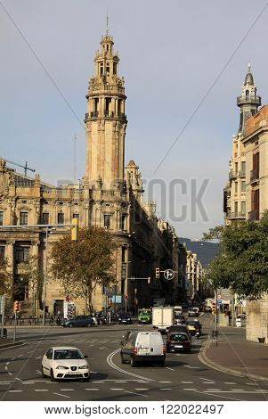 Barcelona, Catalonia, Spain - December 12, 2011: Central Post Office Building In Barcelona, Cataloni