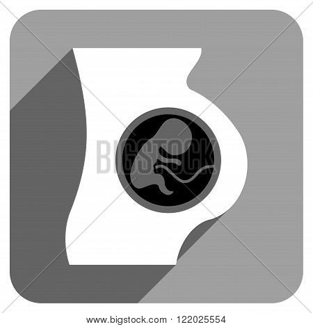 Pregnant Woman Anatomy long shadow vector icon. Style is a flat pregnant woman anatomy iconic symbol on a gray square background.