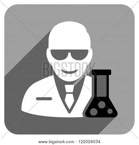Scientist With Retort long shadow vector icon. Style is a flat scientist with retort iconic symbol on a gray square background.