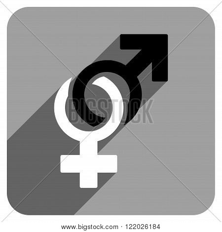 Sexual Symbols long shadow vector icon. Style is a flat sexual symbols iconic symbol on a gray square background.
