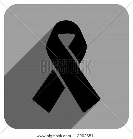 Solidarity Ribbon long shadow vector icon. Style is a flat solidarity ribbon iconic symbol on a gray square background.