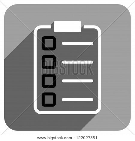 Test Form long shadow vector icon. Style is a flat test form iconic symbol on a gray square background.