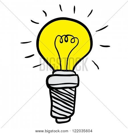 freehand drawn cartoon illustration lightbulb