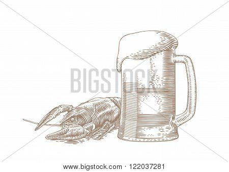 Drawing of beer glass and boiled red crawfish on the white