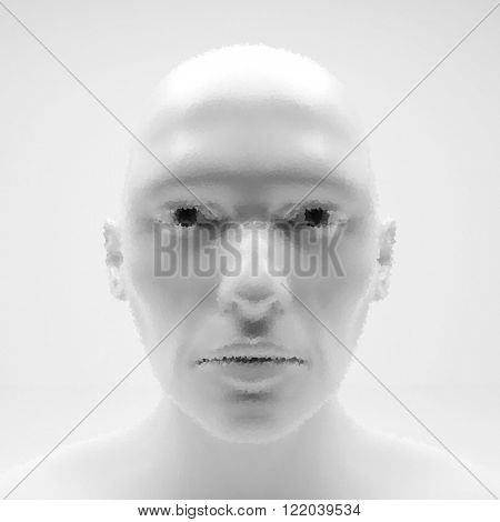 View of Human Head. Stipple Effect. Vector Art. Dot Design. Pointillism Style. Face Scanning.