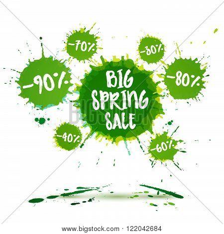 Sale badge big spring sale poster spring sale banner. Vector watercolor banner with ink splashes. SALE spring poster. Vector illustration. Special offer. Big spring sale offer.