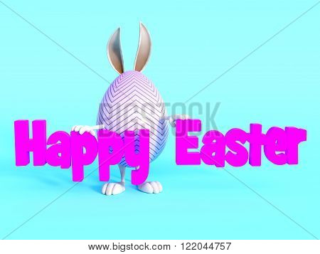 A cute Easter egg with bunny ears arms and feet standing behind a Happy Easter sign. Blue background.