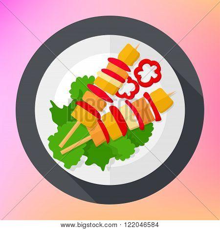 Shashlik kebab barbecue flat icon.