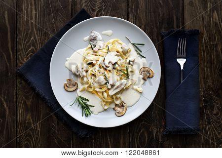 Tagliatelle Pasta with Mushrooms.