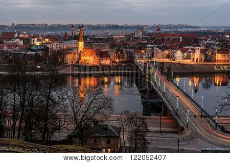 Kaunas, Lithuania: Old Town in the beautiful sunset of early spring