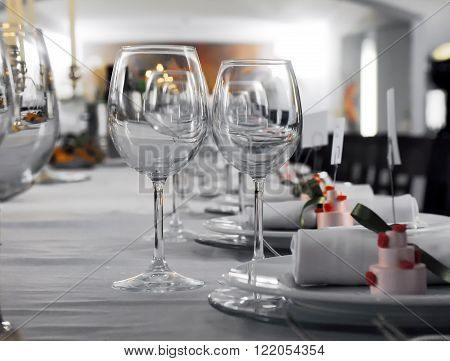Details of a wedding table with coutlery