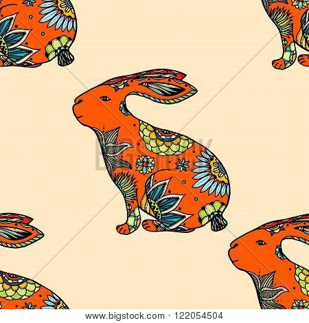 Zentangle stylized animal vector seamless pattern background with rabbits. Doodle elements might be used as decorative fabric or case print