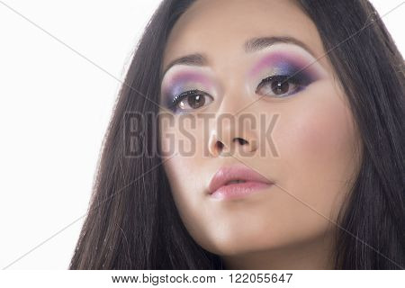 Portrait of a beautifull brunette woman with makeup
