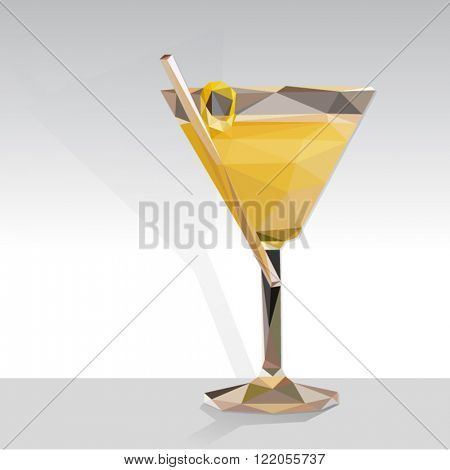 Low poly vector yellow cocktail