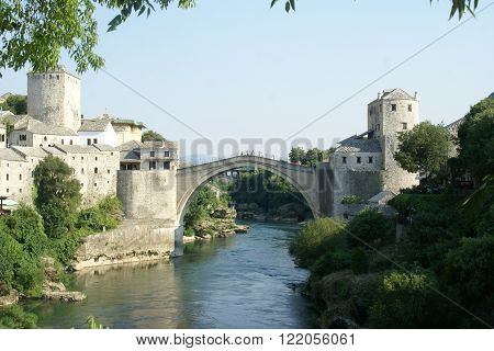 View of the bridge rebuild after the war in Mostar