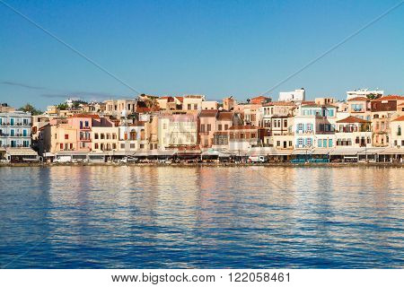 waterfront  of Chania bay at sunny summer day, Crete, Greece
