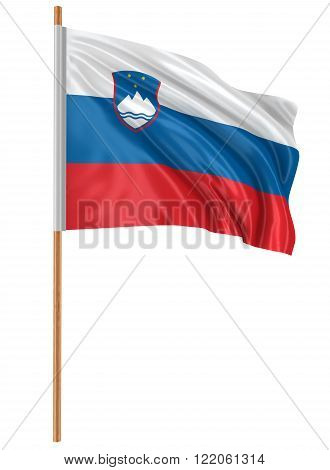 3D Slovene flag with fabric surface texture. White background.