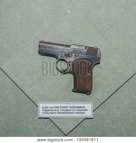 MOSCOW RUSSIA- DECEMBER 16- 6.35-mm pistol Korovin. Gift to Joseph Stalin from the workers of the Tula arms factory at the Central Museum of the armed forces on December 16; 2015 in Moscow
