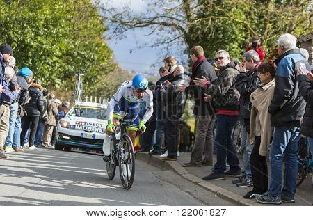Conflans-Sainte-Honorine, France-March 62016: The Australian cyclist Michael Matthews of Orica-GreenEDGE Team riding during the prologue stage of Paris-Nice 2016. Matthews was the winner of the stage.