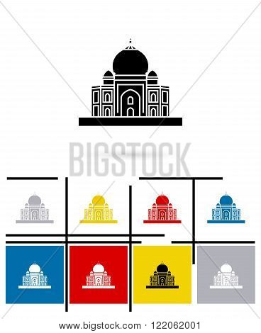 Taj Mahal in India icon or Taj Mahal in India sign. Vector Taj Mahal pictogram