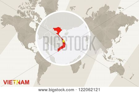Zoom On Vietnam Map And Flag. World Map.