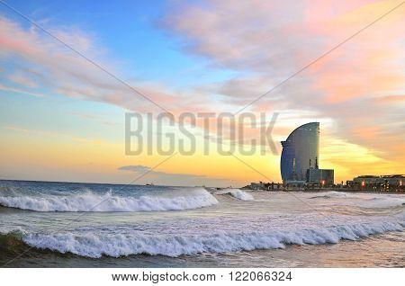 BARCELONA SPAIN - DECEMBER 9: View of Barceloneta beach of Barcelona on December 9 2014. Barcelona is the capital city of Catalonia Spain.