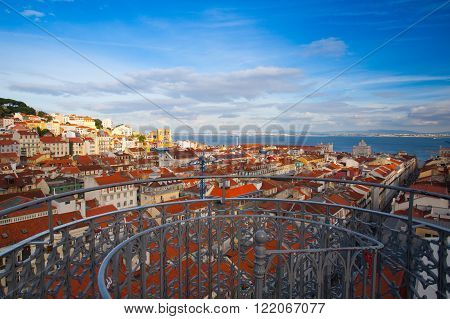 View from the top of the Santa Justa elevator on Lisbon city.Portugal
